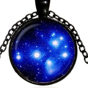Blue Galaxy of Stars Necklace New